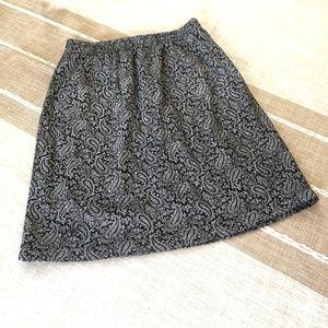 GAP Black & White Paisley Skirt w Elastic Waist S
